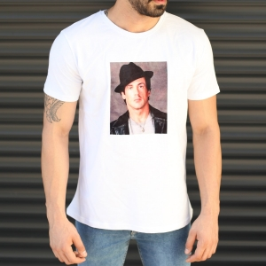 Men's Rocky Balboa Printed Fit T-Shirt In White Mv Premium Brand - 1