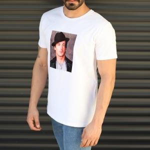 Men's Rocky Balboa Printed Fit T-Shirt In White Mv Premium Brand - 2