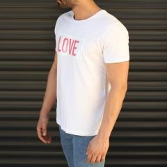 Men's Love Printed Crew Neck T-Shirt In White Mv Premium Brand - 4