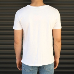 Men's Love Printed Crew Neck T-Shirt In White Mv Premium Brand - 5
