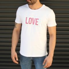 Men's Love Printed Crew Neck T-Shirt In White Mv Premium Brand - 1