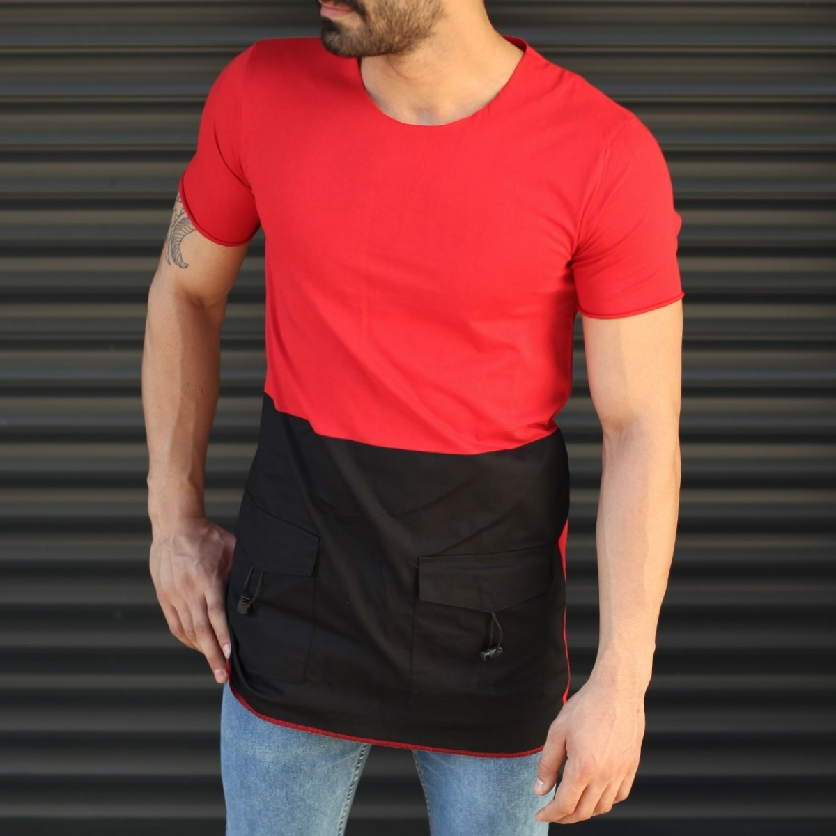 Men's Pieced Longline Crew Neck T-Shirt In Red Mv Premium Brand - 1