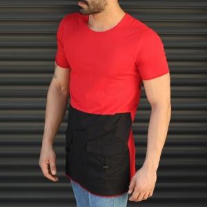 Men's Pieced Longline Crew Neck T-Shirt In Red Mv Premium Brand - 2