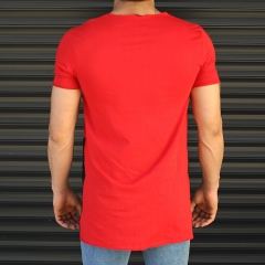 Men's Pieced Longline Crew Neck T-Shirt In Red Mv Premium Brand - 3