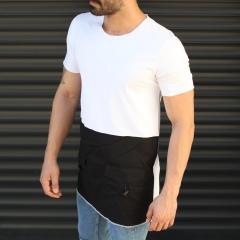 Men's Pieced Longline Crew Neck T-Shirt In White Mv Premium Brand - 2