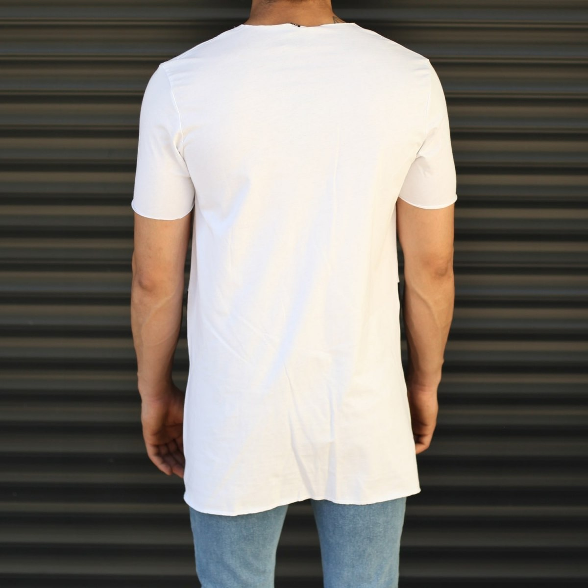 Men's Pieced Longline Crew Neck T-Shirt In White Mv Premium Brand - 3
