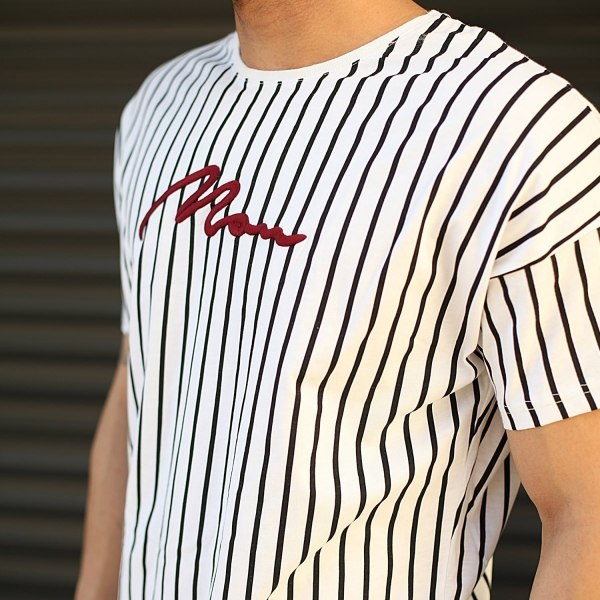 Men's Striped Embroidery...