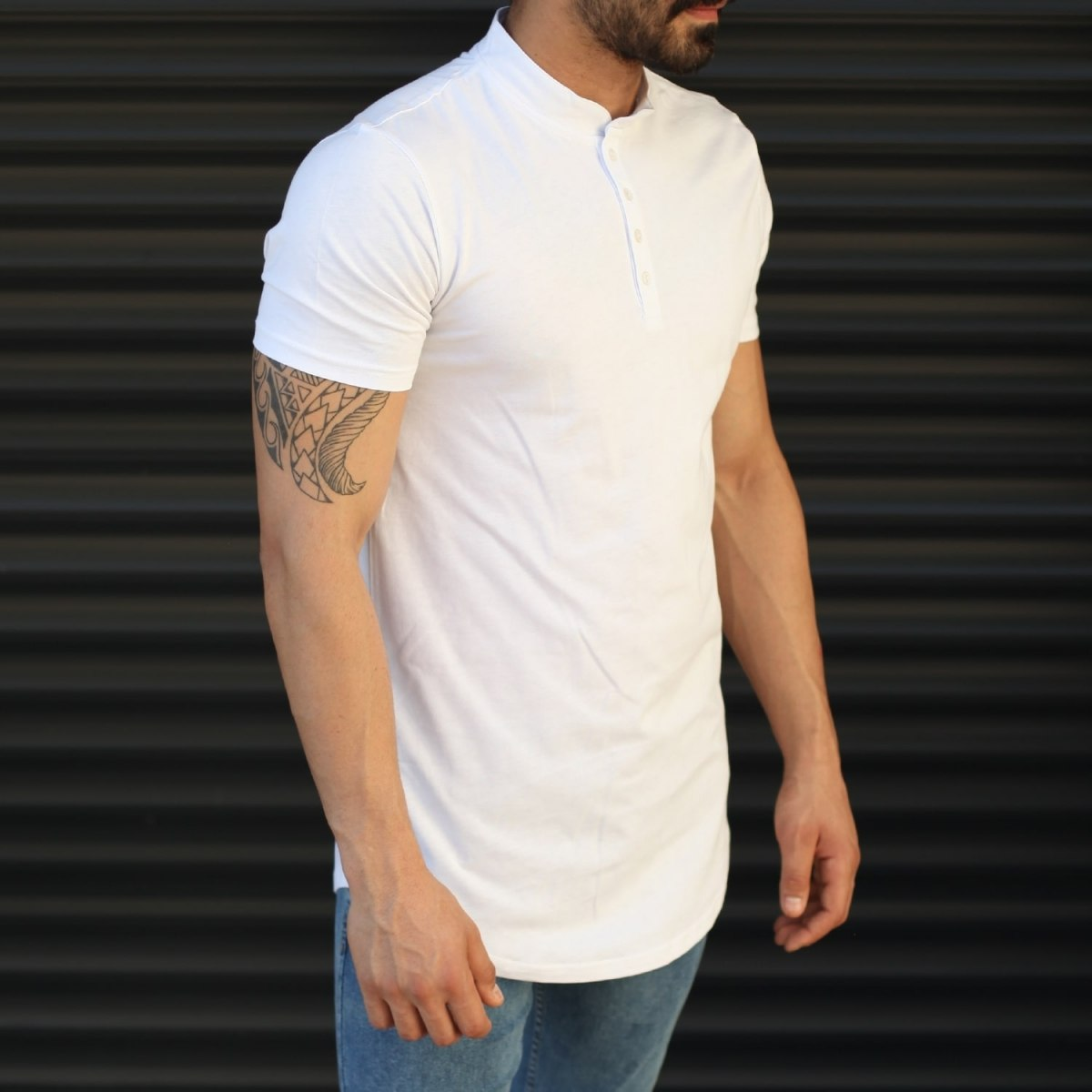 Men's Button Neck Basic Tall T-Shirt In White Mv Premium Brand - 1