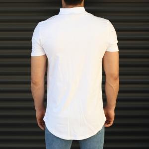 Men's Button Neck Basic Tall T-Shirt In White Mv Premium Brand - 2