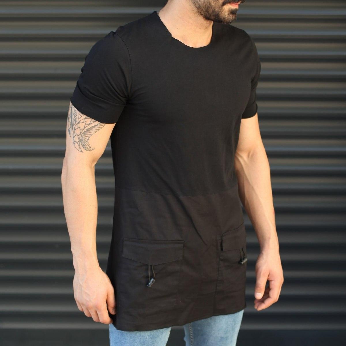 Men's Slim Fit Longline T-Shirt With Pockets Black Mv Premium Brand - 1