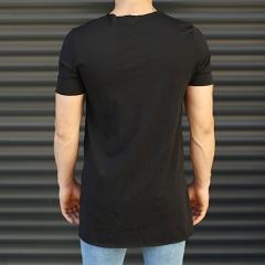 Men's Slim Fit Longline T-Shirt With Pockets Black Mv Premium Brand - 2