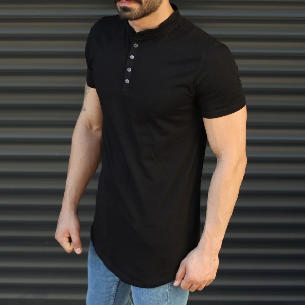 Men's Button Neck Basic...