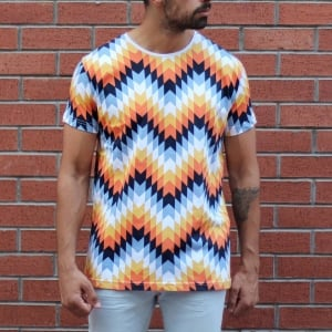 Men's Geometric Colored Round Neck T-Shirt MV T-shirt Collection - 1