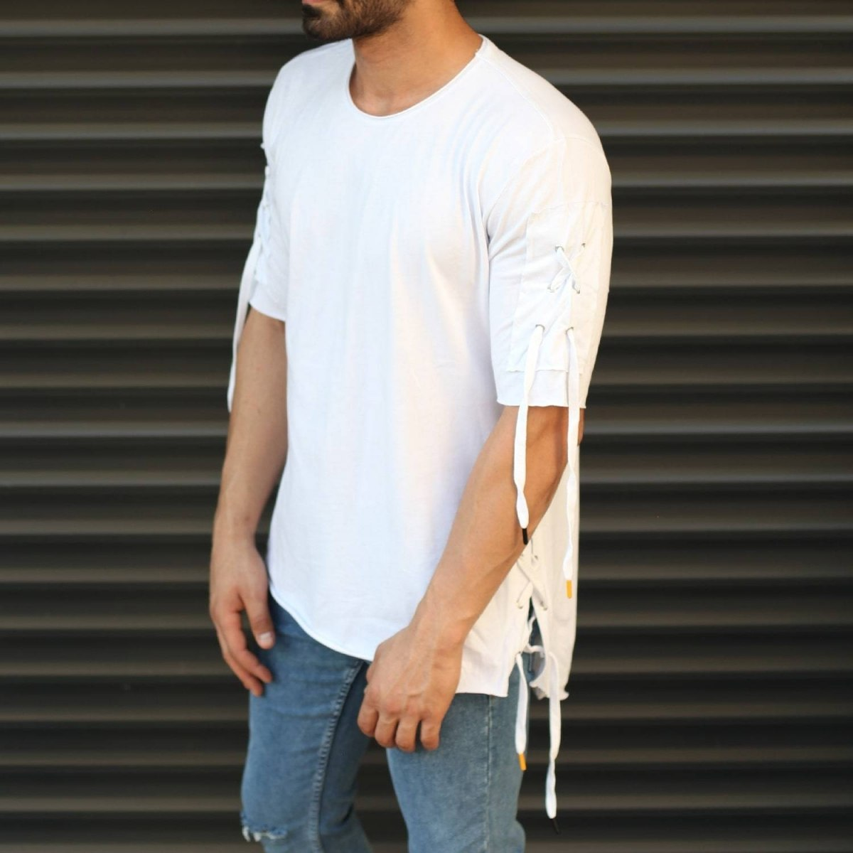 Men's Sleeves Drawstring Longline T-Shirt White Mv Premium Brand - 1