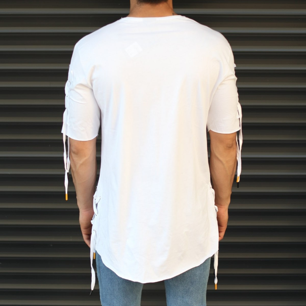 Men's Sleeves Drawstring Longline T-Shirt White Mv Premium Brand - 2