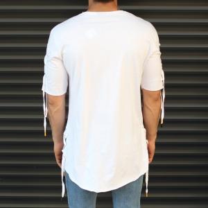 Men's Sleeves Drawstring Longline T-Shirt White Mv Premium Brand - 2