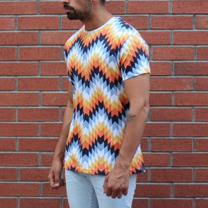 Men's Geometric Colored Round Neck T-Shirt MV T-shirt Collection - 3
