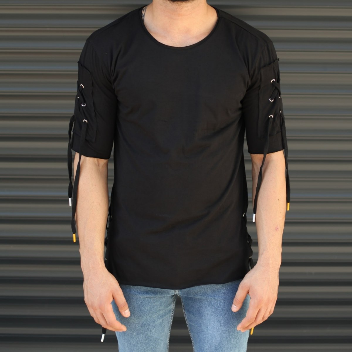 Men's Sleeves Drawstring Longline T-Shirt In Black Mv Premium Brand - 1