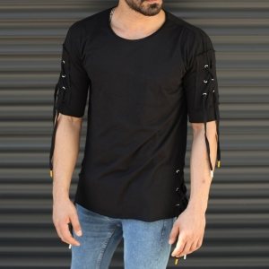 Men's Sleeves Drawstring Longline T-Shirt In Black Mv Premium Brand - 2