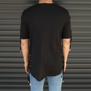 Men's Sleeves Drawstring Longline T-Shirt In Black Mv Premium Brand - 3
