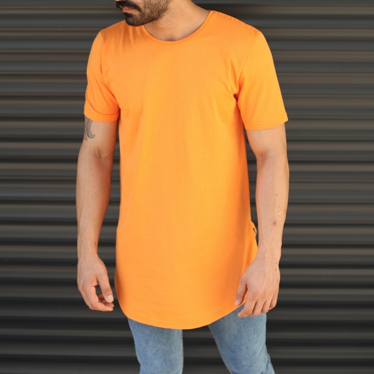 Men's Longline Round Neck T-Shirt In Orange Mv Premium Brand - 1