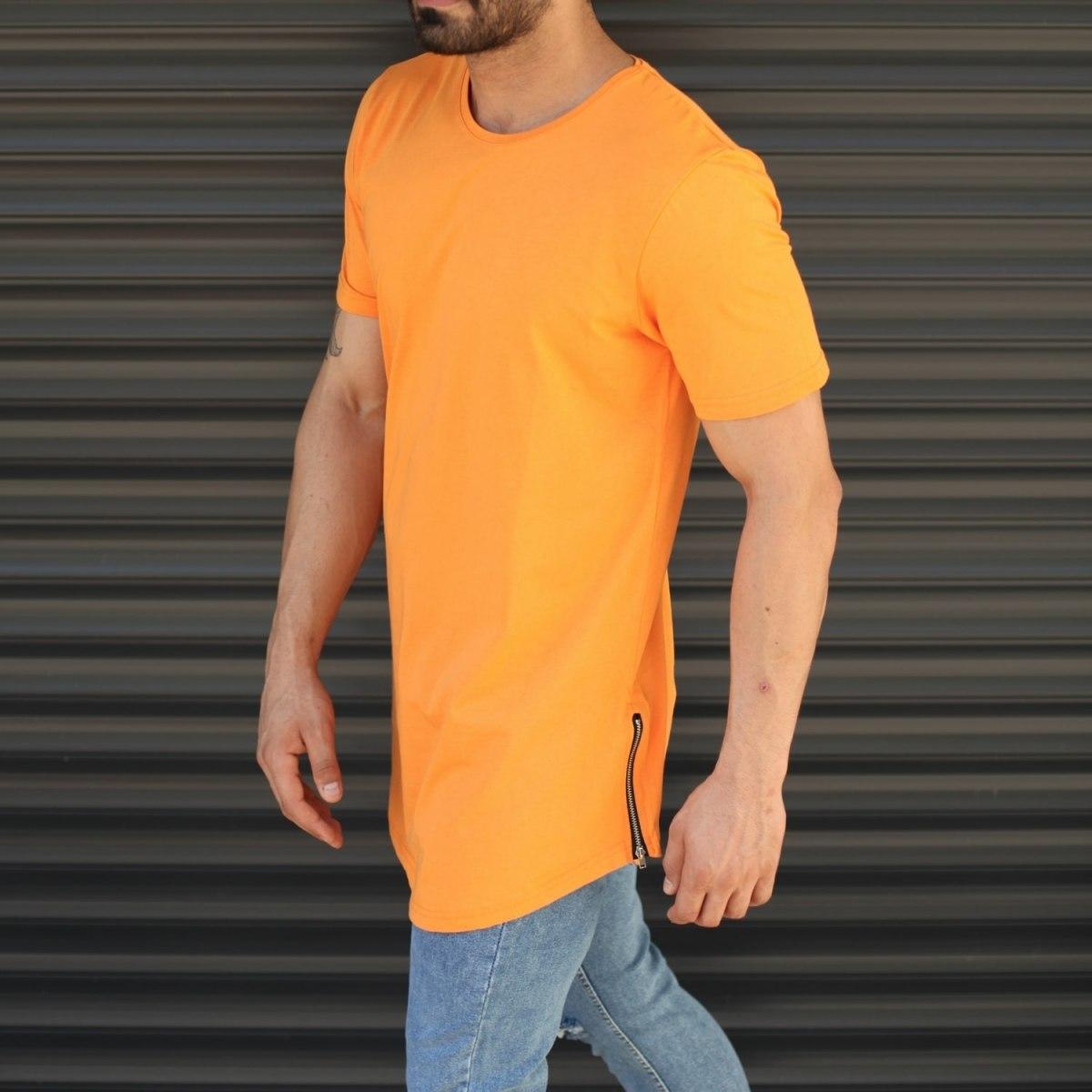 Men's Longline Round Neck T-Shirt In Orange Mv Premium Brand - 2