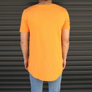 Men's Longline Round Neck T-Shirt In Orange Mv Premium Brand - 3