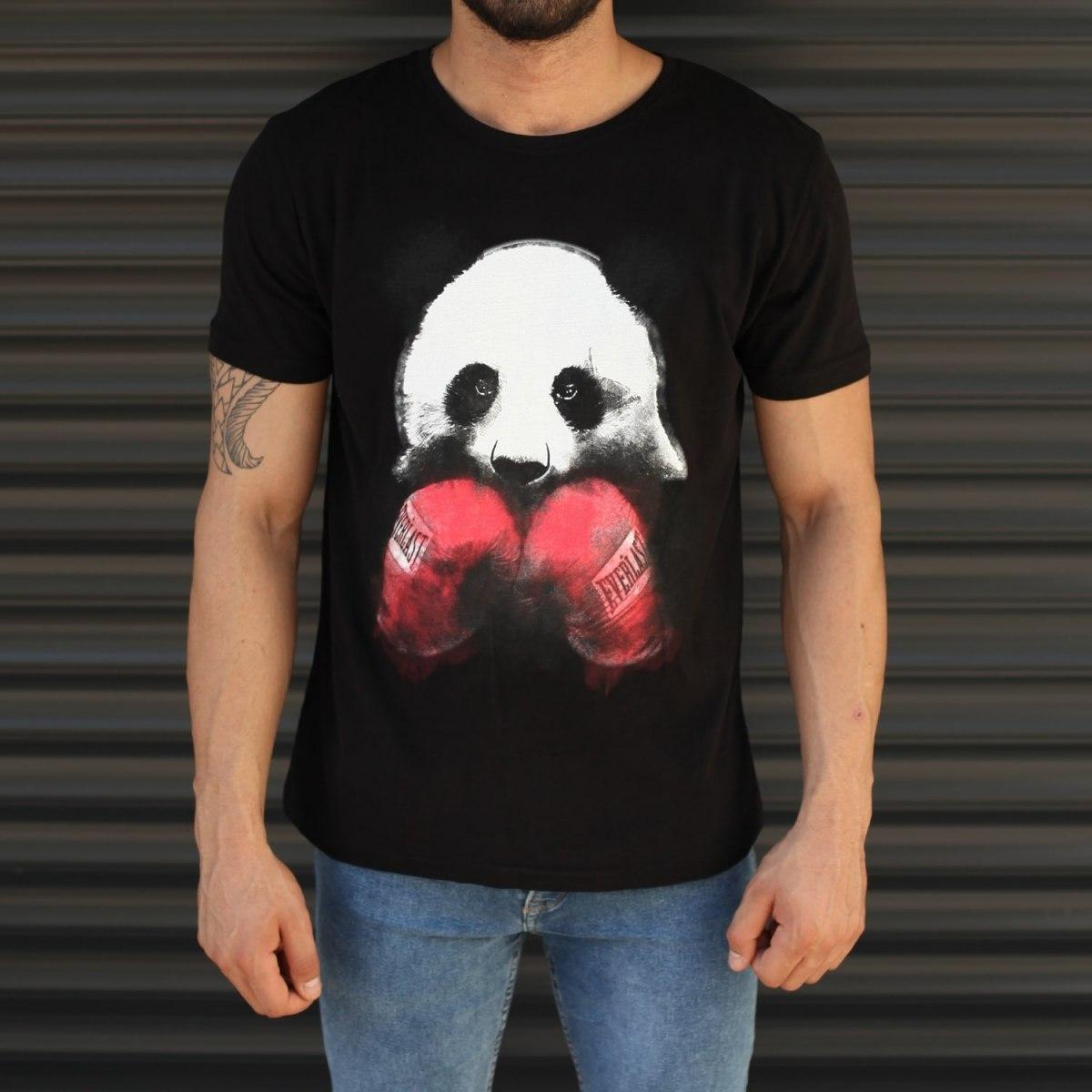 Men's Sporty Panda Printed Fit T-Shirt In Black