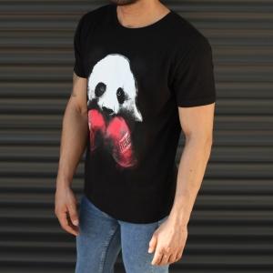 Men's Sporty Panda Printed Fit T-Shirt In Black Mv Premium Brand - 2