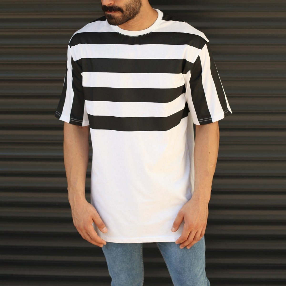 Men's Oversized Semi-Striped T-Shirt In White Mv Premium Brand - 1