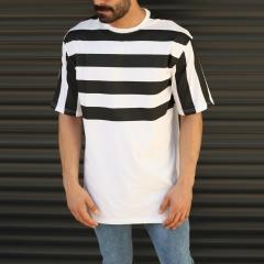 Men's Oversized Semi-Striped T-Shirt In White Mv Premium Brand - 1