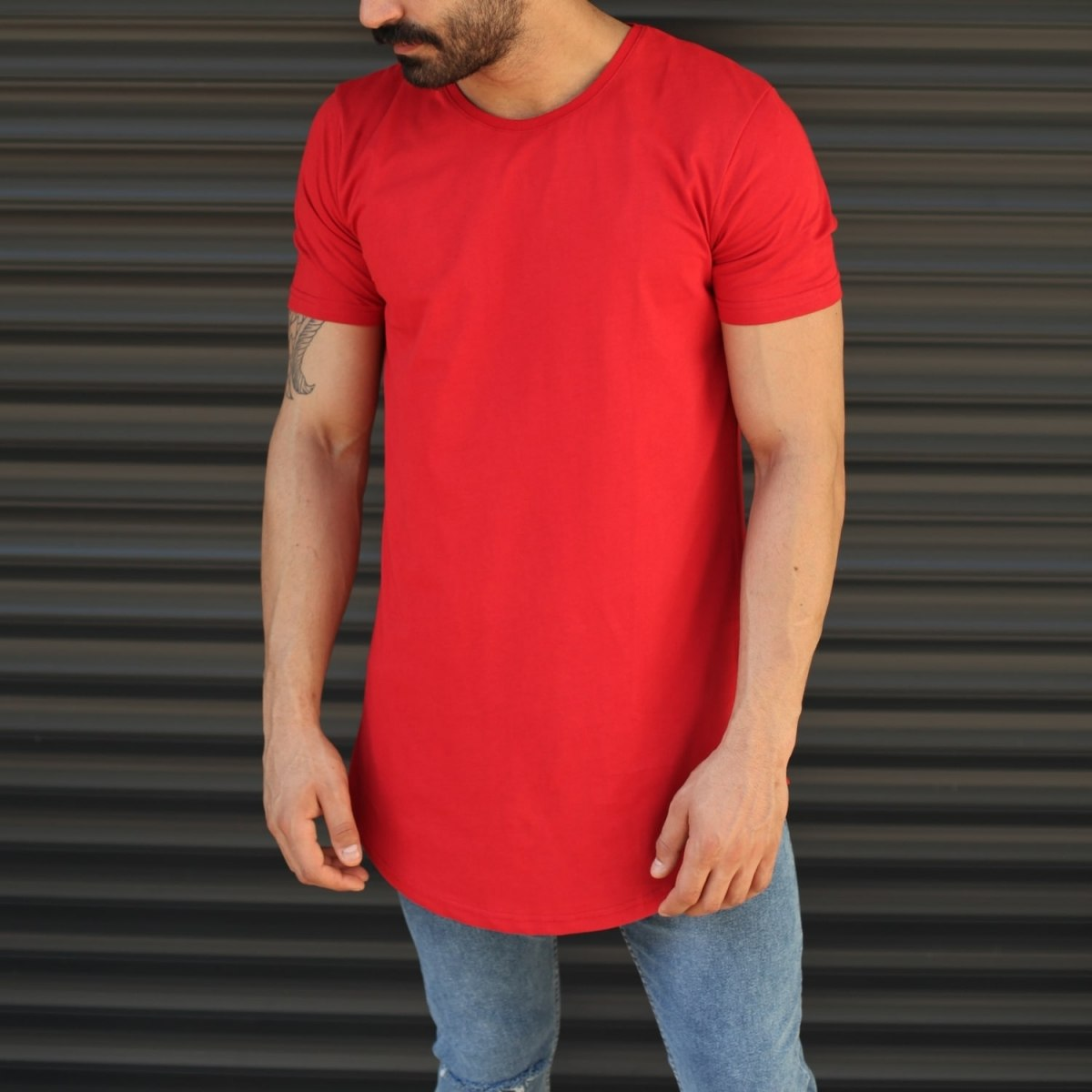 Men's Longline Round Neck T-Shirt With Zipper In Red Mv Premium Brand - 1