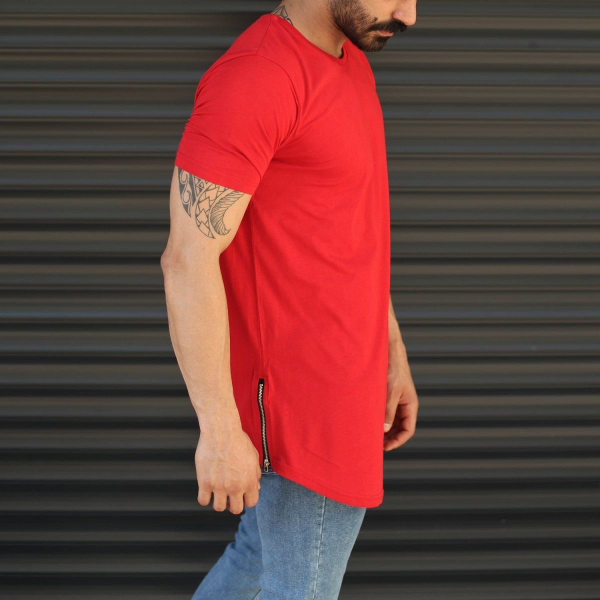 Men's Longline Round Neck T-Shirt With Zipper In Red Mv Premium Brand - 2