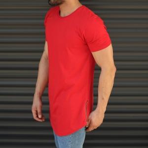 Men's Longline Round Neck T-Shirt With Zipper In Red Mv Premium Brand - 3