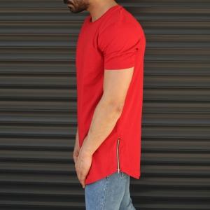 Men's Longline Round Neck T-Shirt With Zipper In Red Mv Premium Brand - 4