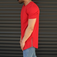 Men's Longline Round Neck T-Shirt With Zipper In Red Mv Premium Brand - 4