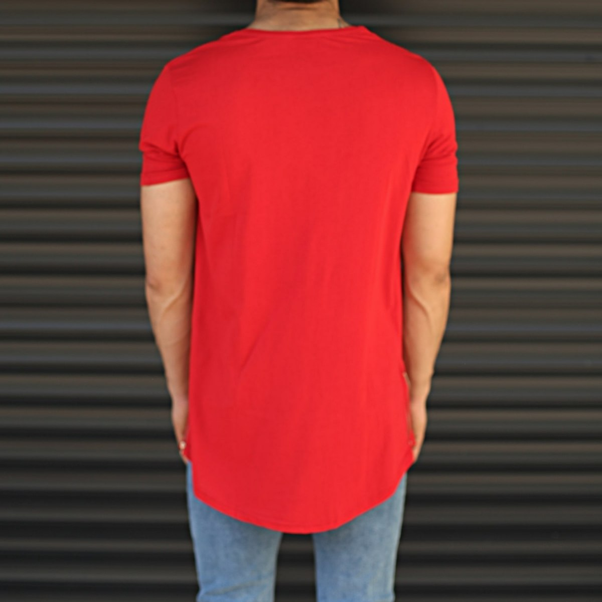 Men's Longline Round Neck T-Shirt With Zipper In Red Mv Premium Brand - 5