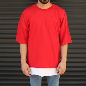 Men's Oversized Round Neck T-Shirt With Zipper Detail Red Mv Premium Brand - 1
