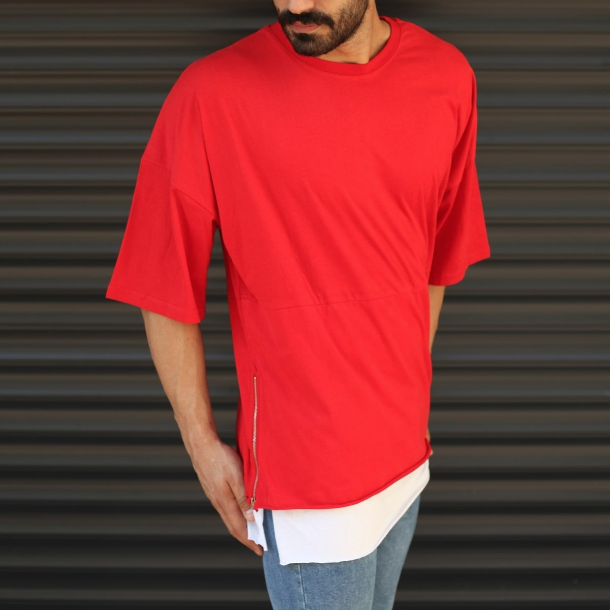 Men's Oversized Round Neck T-Shirt With Zipper Detail Red Mv Premium Brand - 2