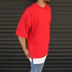 Men's Oversized Round Neck T-Shirt With Zipper Detail Red Mv Premium Brand - 3