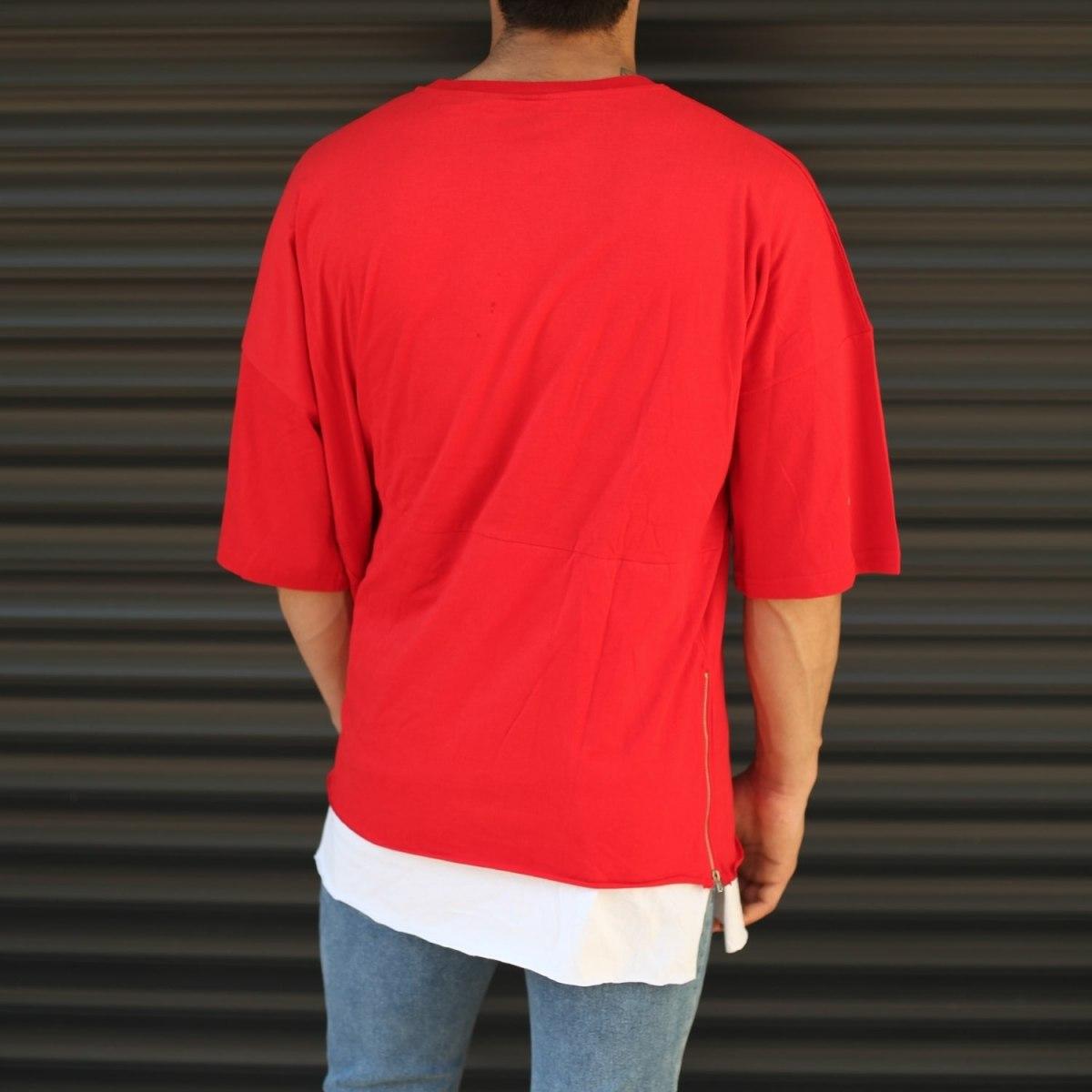 Men's Oversized Round Neck T-Shirt With Zipper Detail Red Mv Premium Brand - 4