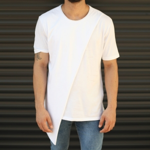 Men's Cross-Pieced Round Neck T-Shirt In White Mv Premium Brand - 1