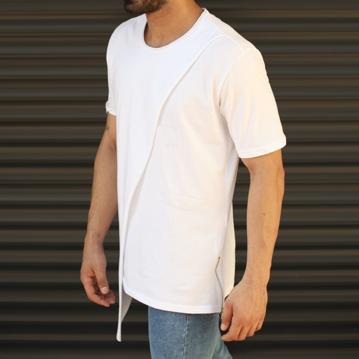 Men's Cross-Pieced Round Neck T-Shirt In White Mv Premium Brand - 2