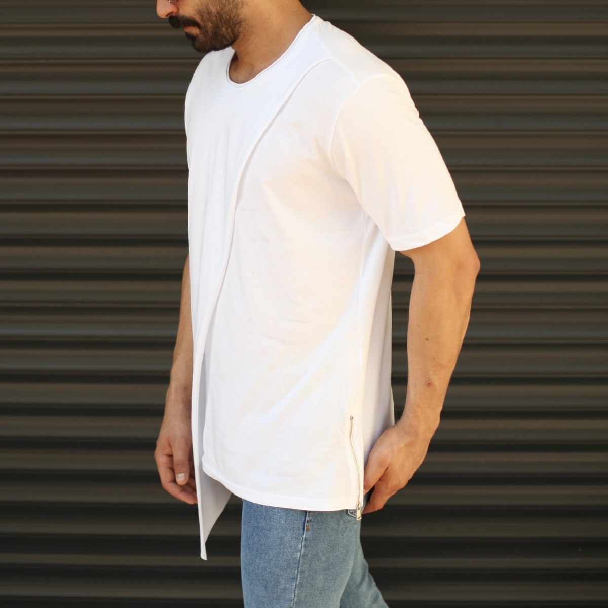 Men's Cross-Pieced Round Neck T-Shirt In White Mv Premium Brand - 3