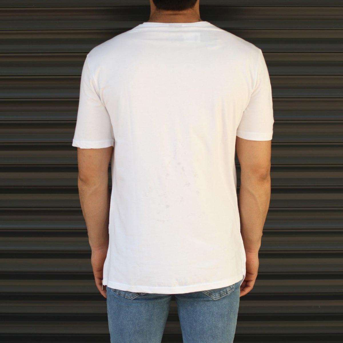 Men's Cross-Pieced Round Neck T-Shirt In White Mv Premium Brand - 4