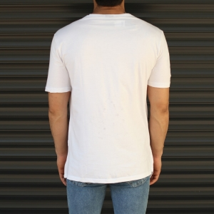 Men's Cross-Pieced Round Neck T-Shirt In White Mv Premium Brand - 4