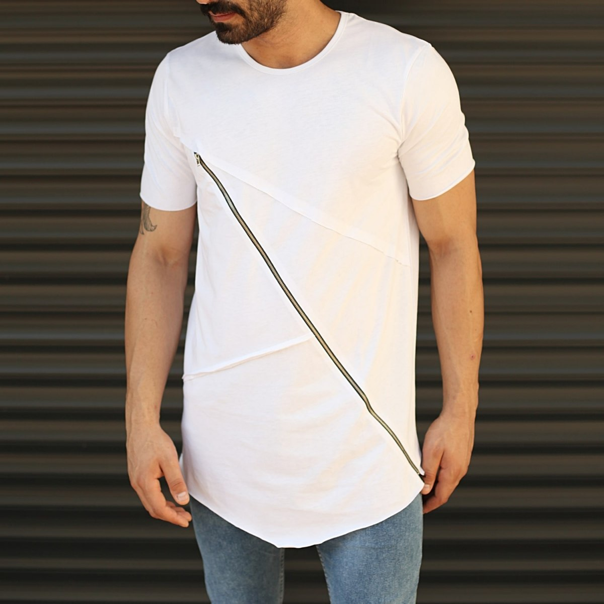 Men's Fitted Cross Zipper Tall T-Shirt White Mv Premium Brand - 1