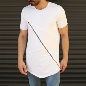 Men's Fitted Cross Zipper Tall T-Shirt White Mv Premium Brand - 1