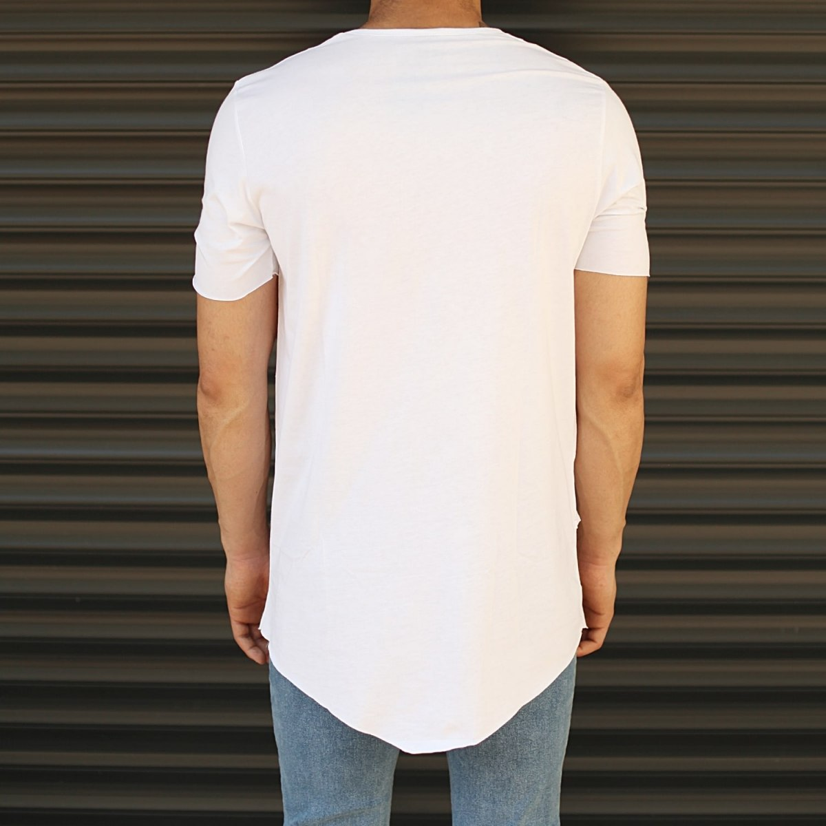 Men's Fitted Cross Zipper Tall T-Shirt White Mv Premium Brand - 2