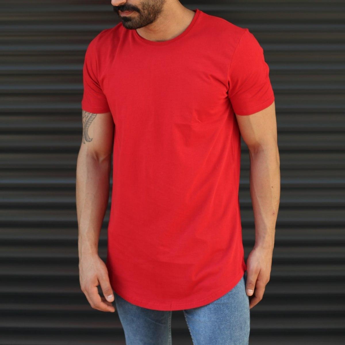 Men's Longline Back-Zipper T-Shirt In Red Mv Premium Brand - 1